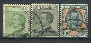 Eritrea 1925 Sass. 93-95 Usato 100% 20 c., 30 c., 2l