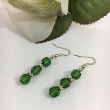 Womens Pierced Earrings Emerald Green Acrylic Faceted Round Bead Drop Dangle