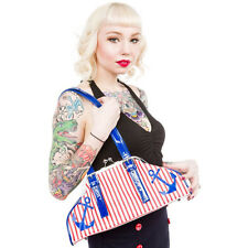 "78073 Red & White Striped with Blue Anchors ""First Mate"" Purse Sourpuss Pinup"