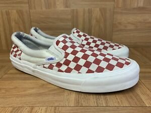 RARE🔥 VANS Originals Slip On Checkerboard RED WHITE Sz 12 Men's Shoes Worn PRO