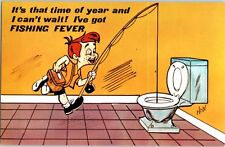It's That Time of Year I've Got Fishing Fever Funny Vintage Postcard Toilet