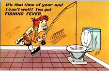 It's That Time of Year I've Got Fishing Fever Comic Vintage Postcard Toilet Pole