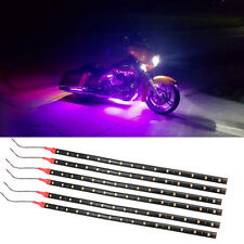 6Pcs Purple 1Ft/15 LED Car Motors Truck Flexible Strip Light Waterproof 12V