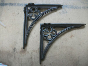 GOTHIC STYLE pair Shelf / Wall  Bracket - cast IRON 215mm x 185mm