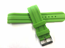 Silicone Rubber Watch Band Strap with CURVED Ends 22mm Green
