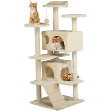 "Cat Tree Furniture Kitten House Play Tower Scratcher 51"" Beige Condo Post Bed"