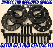 Alloy Wheel Spacers 12mm 15mm Audi A3 A4 B4 B5 B6 B7 A6 Black Bimecc 5x112 57.1