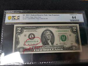 2013 US$2 Federal Reserve Note Printing Error, Fancy Number (w/o description)