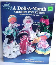 "A Doll-A-Month Crochet #1081, 1082, 2 Booklets, 13"" Dolls, Pitre and Henkelman"