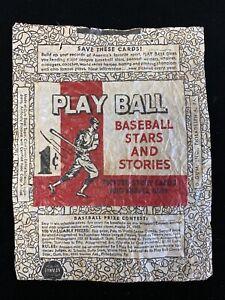 Original 1940 Play Ball Baseball Card 1-cent Wax Pack Wrapper RARE!