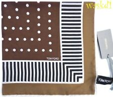 TOM FORD silk batiste KHAKI Pochette STRIPE BORDER Pocket Square NWT Authentic!