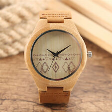 Wooden Watch for Men Women Bamboo Wood Quartz Analog  Watches Leather Strap