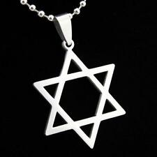 STAR OF DAVID NECKLACE Stainless Steel Pendant Chain Jewish Hebrew Zion Symbol