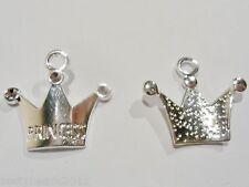 10 X SILVER PLATED PRINCESS CROWN CHARMS, GIRL PENDANTS, GET 3 for 2