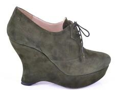 NEW PRADA 1IZ017 CAMOSCIO MILITARE GREEN SUEDE WEDGE BOOTIES SHOES~36 6