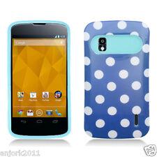 LG Nexus 4 Google Phone E960 Hybrid Case Skin Pastel Cover Blue White Dots