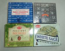 4 Box Assorted Incense Cones: White Sage Patchouli Satya Nag Champa Super Hit