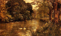 Perfect Oil painting swans swimming - river crossing the forest canvas