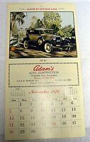 VINTAGE 1976 CALENDAR PAGE ALBUM OF ANTIQUE CARS WITH ADAM'S AUTO CONSTRUCTION A