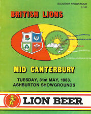 More details for british lions v mid canterbury 31 may 1983 rugby programme