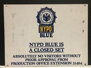 """VTG 1990'S NYPD BLUE TELEVISION METAL PRODUCTION FILMING SET SIGN """"CLOSED SET"""""""