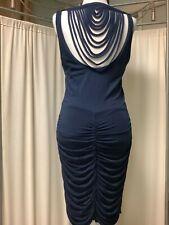 Akiko draped sleeveless navy blue dress M