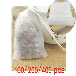Empty Tea Filter Bags with String For Loose Herb Spice Herbal Powder Seal 5*7cm