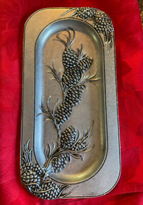 """CARSON PEWTER RECTANGULAR   PINE CONE TRAY 11 1/2"""" X 6''  NEW OLD STOCK"""