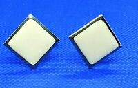 Napier  Earrings Clip on Screw Back Cream Square Enamel Gold tone Marked Vintage