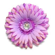 """4.5"""" Lavender Silk Flower Hair Clip Double Gerber Daisy Large Crystal Handmade"""