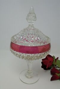 """Indiana Diamond Point Tall Candy Dish on a Pedestal with Lid, 12 1/2"""""""