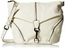 NWT ORG $295 REBECCA MINKOFF PEBBLED LEATHER ANTIQUE WHITE JULIAN MESSENGER BAG