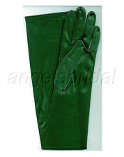 "23"" FOREST GREEN STRETCH SATIN COSPLAY PARTY COSTUME OPERA EVENING LONG GLOVES"
