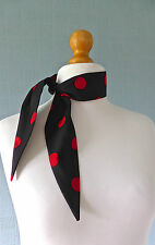 Polka dot scarf, black and red spotted scarf, rockabilly retro scarf