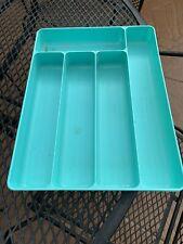 Vintage Turquoise Aqua Hard Plastic Silverware Utensil Tray Holder Retro 1960'S