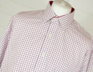 SCHOFFEL Shirt 17.5 Tall White Check Hunting Country Casual Autumn Winter