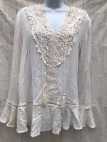 Knox Rose Ivory Peasant Top Crochet Front Tassels Bell Sleeves Sz XL