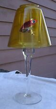 Vintage Frog Tealite Lamp,clear & yellow glass,metallic frogs,1980s - candle