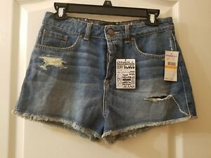 O'NEILL Sz 7 Juniors Medium Wash Button Down Low Rise Ripped Shorts I1