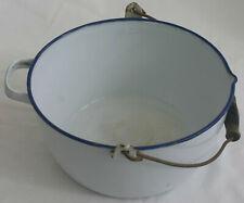More details for vintage kockum enamel sweden - large cooking pot w/ handle white w/ blue trim