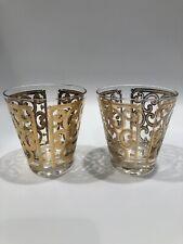 MCM Georges Briard Gold Rocks Glasses Set of 2 Cocktail Cool Decor Imperfect VTG