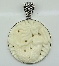 Handcrafted Carved Bone MERMAID Pendant (50 mm) in 925 Sterling Silver #E101