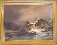 Ölgemälde von Adolf Stademann 1824-1895 Wintertag 50 x 72 cm. Echtgoldrahmen