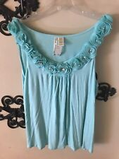 3X Simply Irresistible Mint Green Tank w/ Flower, Pearl & Faux Diamond Neckline