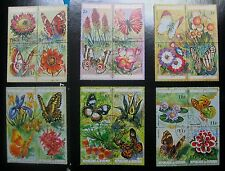 Burundi, 1973 Airmails - Flowers & Butterflies, Set of 6 Stamps (block of 4)