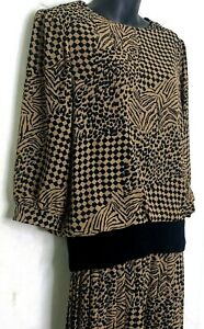 Vtg 80s REO Womens Modest Dress Long Sleeve Check Geometric Beige Black Midi 12
