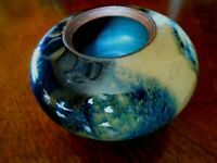 RARE Japanese Stoneware Blue Drip Flambe Glaze VASE / POT Art Pottery signed KA