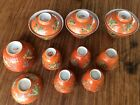 lot of Straits Chinese polychrome enameled covered tea bowls & cups