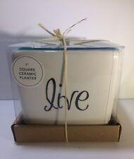 """Square Ceramic Planter 5"""" Live 786460750968 White Home Essentials and Beyond"""
