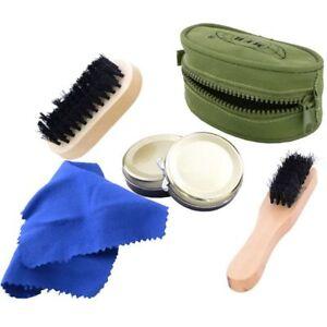 MFH Kit de nettoyage des Chaussures - 2 brosses et 2 cirages avec Etui Vert